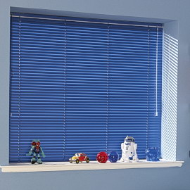 navy blue venetian blinds