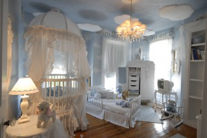 luxury nursery with marvelous ceiling decoration