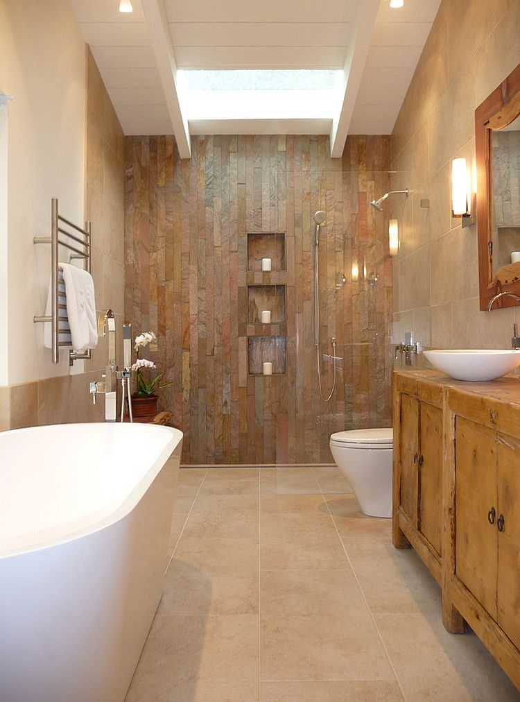 9 charming and natural rustic bathroom design ideas for Bathroom wall remodel ideas