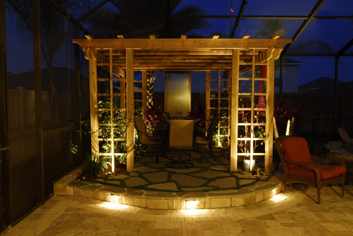 pergola lighting ideas furniture