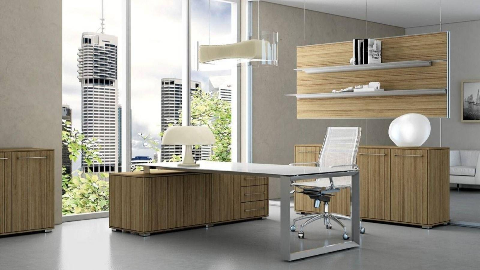 Fantastic Small Modern Home Office Design Ideas With Light Wood File Cabinets And Glass Top With