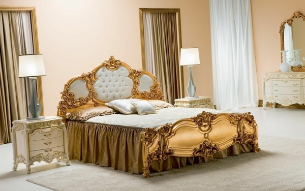 gold shimmer in baroque bedroom