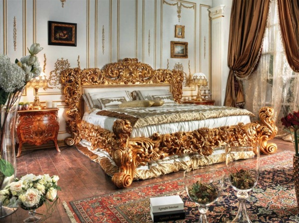 large bed in the baroque bedroom