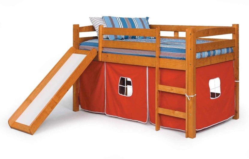 kids room cute bed tent design for boys brown wooden bunk bed with slide