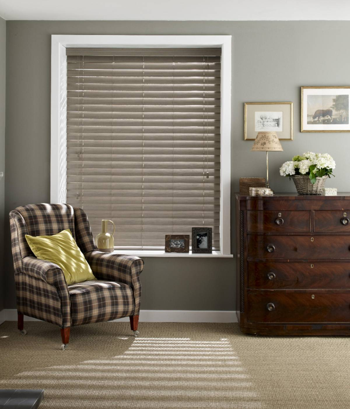 wide wooden venetian blinds